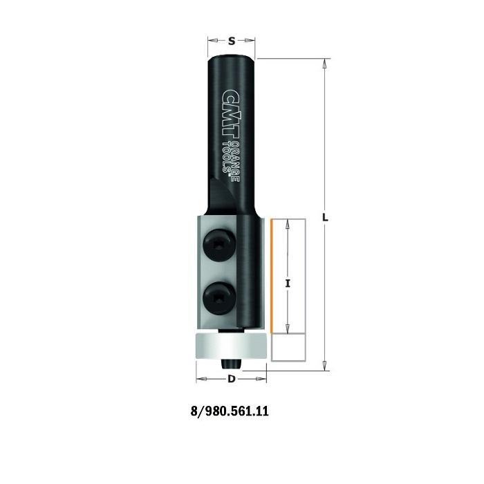 Frez prosty na płytki wymienne do twardych materiałów z łożyskiem typu Delrin® 8/980.56