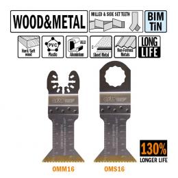 Brzeszczot 45mm z podwyższoną żywotnością do cięcia wgłębnego w drewnie i metalu OMM16