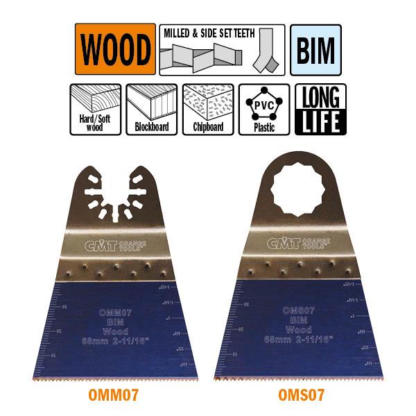 Brzeszczot 68mm z podwyższoną żywotnością do cięcia wgłębnego w drewnie OMM07